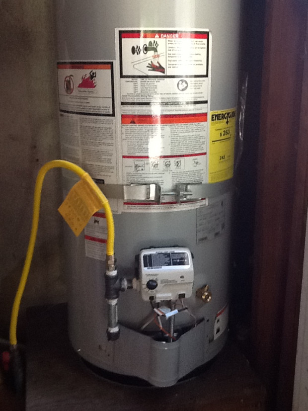 Hot water heater replacement closeup