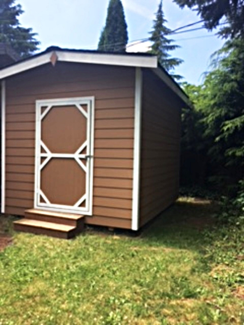 Side view of storage shed